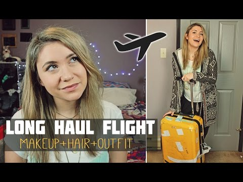 LONG HAUL FLIGHT : Makeup + Hair + Outfit Routine || GRWM