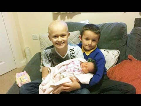 9-year-old with stage 4 cancer meets newborn sister and days later he is gone