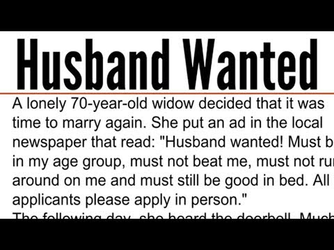 70-Yr-Old Widow Wants To Marry Again - Post Hilarious Single Ad In The Newspaper That Goes Viral