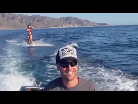Wakeboarding Woman Is Being Filmed When the Cameraman Notices She Is Not Alone in the Water