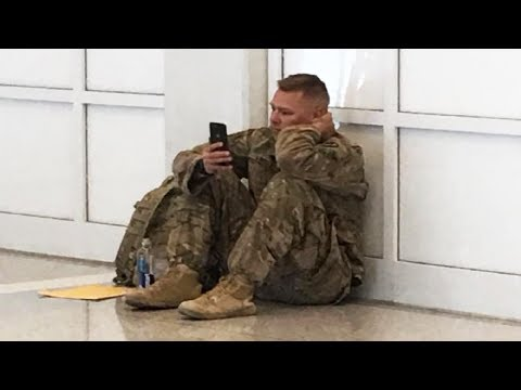 After Airport Staff Don't Let Him Board the Flight They Spot Soldier Crying at Sight on His Phone